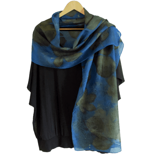 Blue pongé silk scarf with ecoprint from a.o. Chestnut and Blackberry