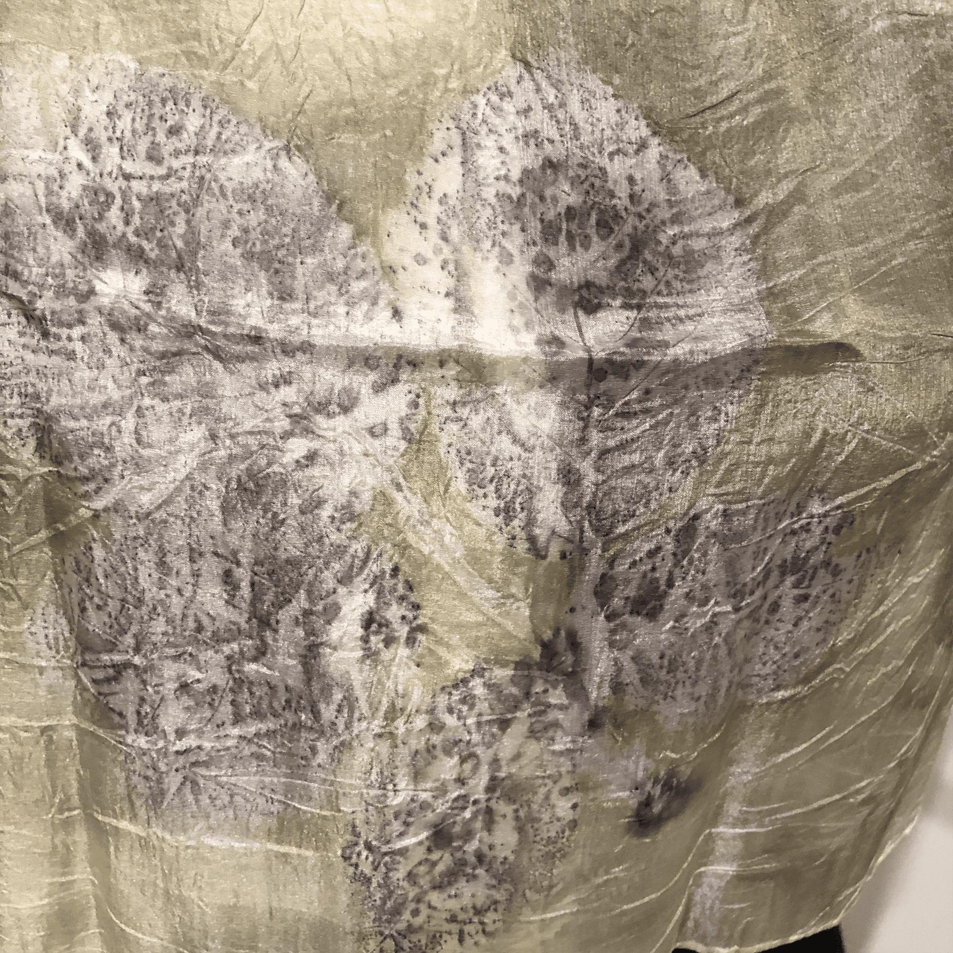Light green pongé silk scarf with chestnut, blackberry and oak leaf ecoprint 3